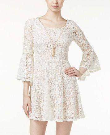 BCX Juniors' Lace Bell-Sleeve A-Line Dress | macys.com