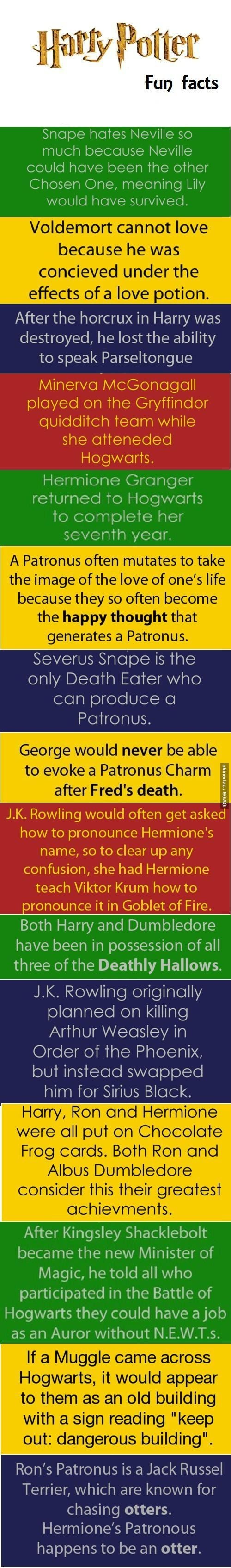 Harry Potter Fun Facts (I don't know about the patronus mutating one)