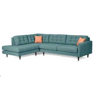 LOVE THIS COUCH!! Mid-Century Sectional Sofas - Teal | Wayfair