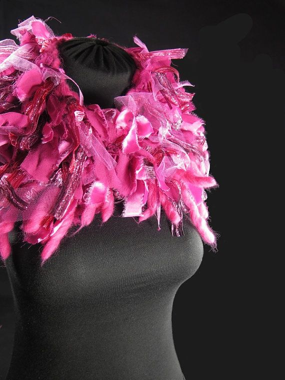 Designer's knitted choker scarf, pure wool and alpaca, frayed silk ribbons, fancy ribbons, bright pink fuchsia, hand-made by kalani
