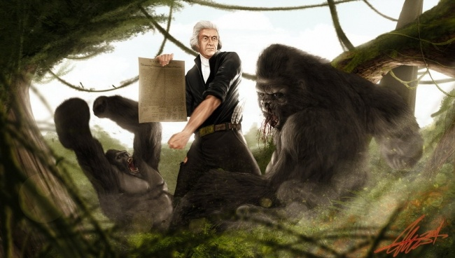Thomas Jefferson vs Gorilla.  Happy birthday, USA!