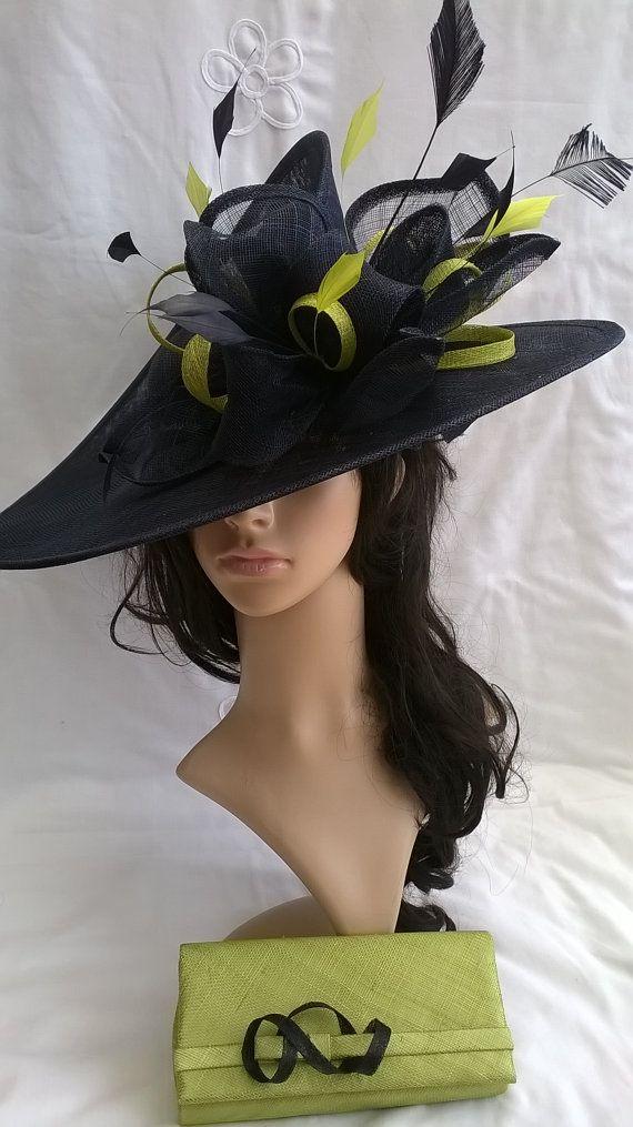 Navy & Lime Hatinator..Stunning Sinamay Fascinator Hat on a Headband..Hatinator