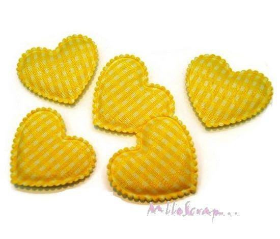 Lot de 5 coeurs tissu vichy jaune embellissement scrapbooking(réf.310)* de la boutique MademoiselleScrap sur Etsy