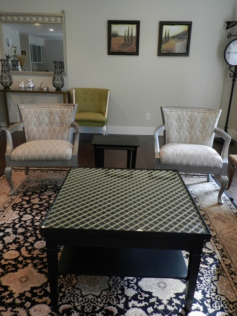 DIY project-coffee table with metal and glass inset inside trim