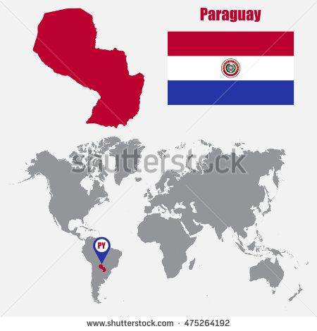 Paraguay map on a world map with flag and map pointer. Vector illustration