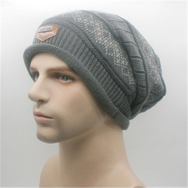 Male Fleece Lining Knitted  Slouch Beanie Hat Double Layers Winter Outdoor Thermal Cap
