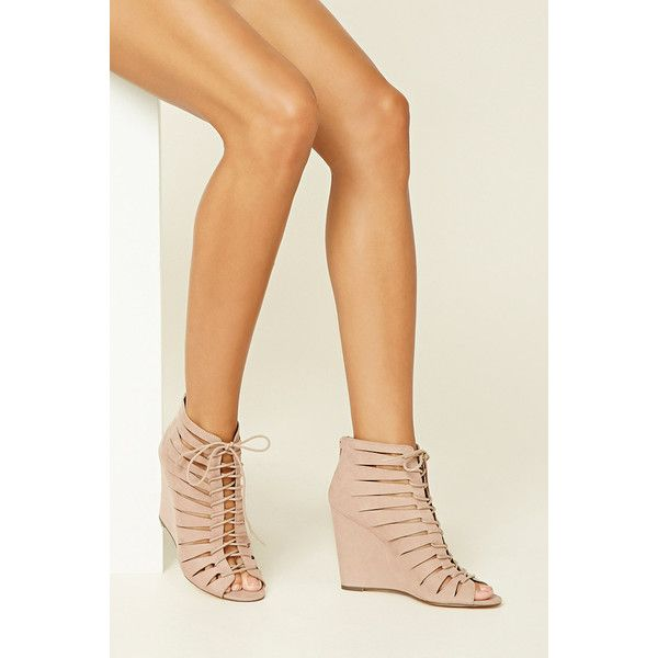 Forever21 Strappy Lace-Up Wedges ($35) ❤ liked on Polyvore featuring shoes, nude, strappy shoes, strappy high heel shoes, nude high heel shoes, strap shoes and nude platform shoes