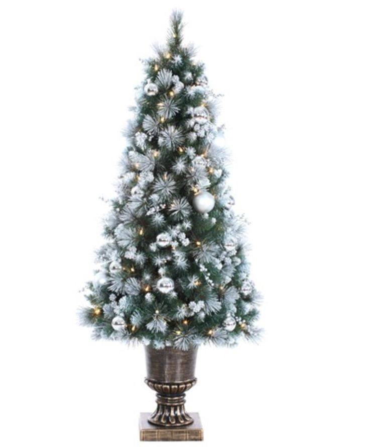 4' Lighted Pre-Decorated Potted Canadian Pine Artificial Christmas Tree Clear