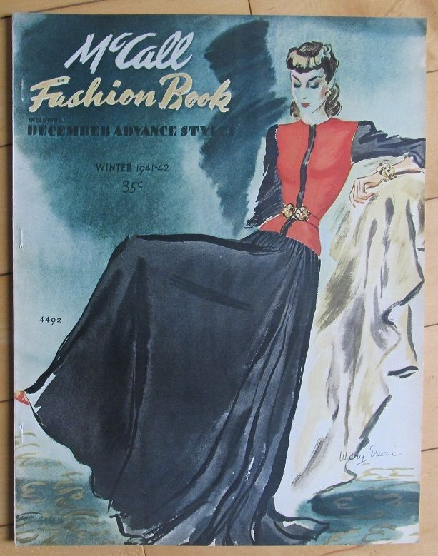 Winter 1941-42 McCall Fashion Pattern Book 72pgs 40s Magazine Winter 1941-42 illustrates in color & in  black & white McCall Dress patterns for sale in the 40s. EXCELLENT sld 26+7 2bds 1/8/16
