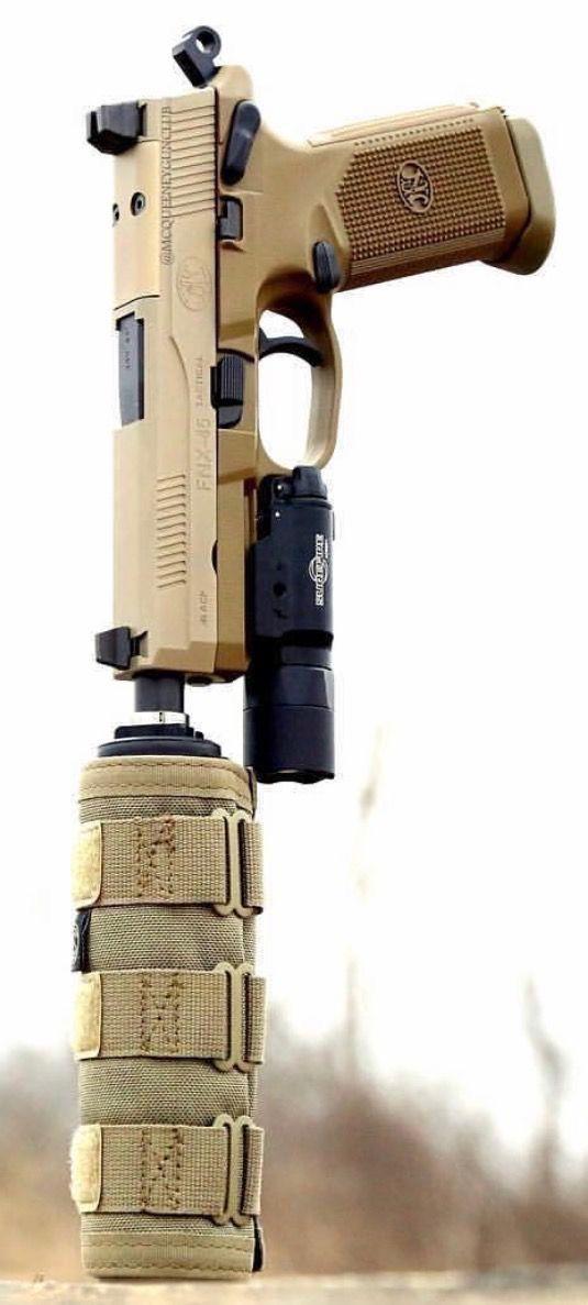FN Herstal FNX-45 Tactical .45 Suppressed w/SureFire X300U-A Weapon Light