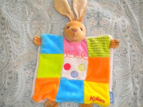 Kaloo Polka Dot Patchwork Bunny Rabbit Security Blanket Lovey DouDou Hand Puppet