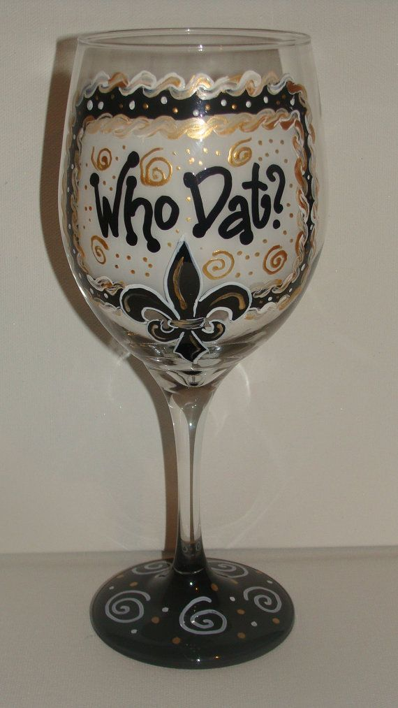 unique hand painted who dat wine glass by glassstrokes on