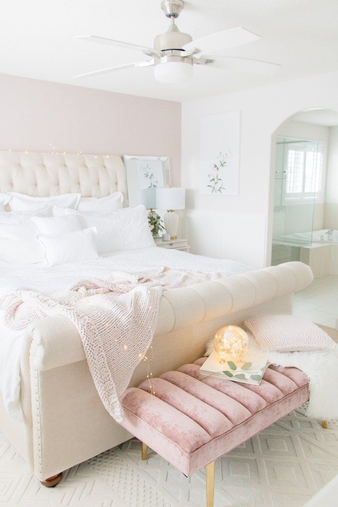 Neutral Luxurious Master Bedroom With White Bedding Neutral