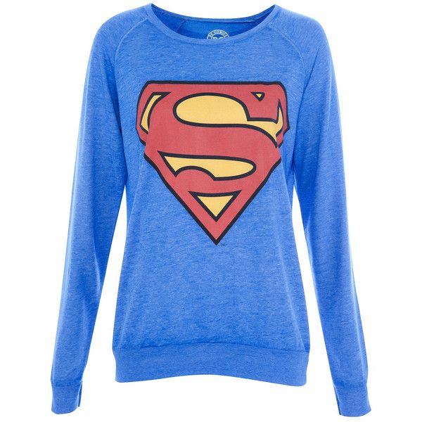 Pull & Bear Superman Sweatshirt ($13) ❤ liked on Polyvore featuring tops, hoodies, sweatshirts, shirts, sweaters, 10. tops., blue superman shirt, blue sweatshirt, pull&bear shirts and blue top