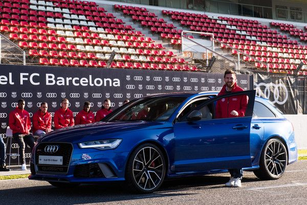 Lionel Messi of FC Barcelona is presented with his new Audi car during the Audi Car handover to the players of FC Barcelona on November 30, 2017 at Circuit de Barcelona-Catalunya in Montmelo, near Barcelona, Spain.