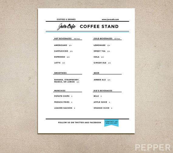 13 best pepper menu design images on pinterest menu design menu custom restaurant menu printable pdf template diner pub coffee shop fast food cafe drinks specials clean simple modern malvernweather Gallery
