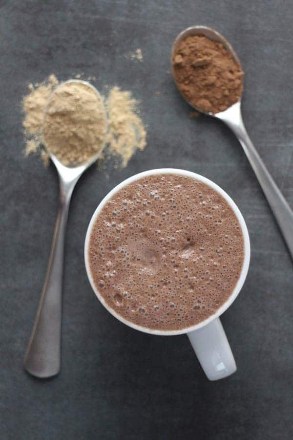 This Ginger Mocha Maca Latte is my new favorite special morning drink. I use it to replace my second cup of coffee with a little bit of decaf maca power! Morning Drinks, Coffee Latte, Coffee Maker, Vegan Dishes, Vegan Recipes Easy, Vegan Chocolate, Plant Based Recipes, Smoothies, Dairy Free