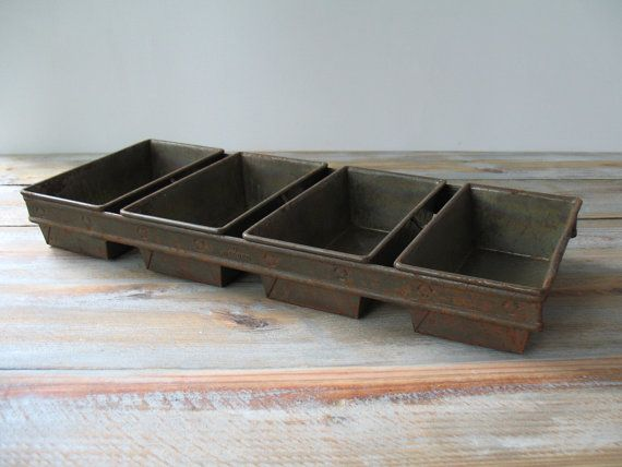 Vintage Industrial Commercial Bread Loaf Pan Tray Planter Organizer