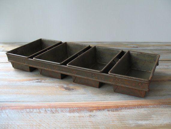 Vintage Industrial Commercial Bread Loaf Pan Tray Planter Organizer