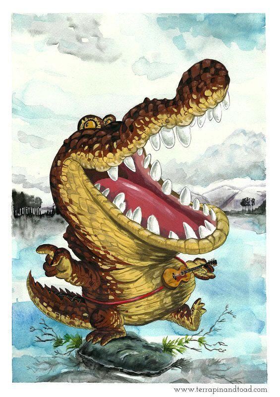 Gator Wobble Fine Art Print crocodile playing guitar by #TerrapinAndToad…