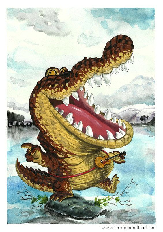 Gator Wobble Fine Art Print crocodile playing guitar by #TerrapinAndToad…