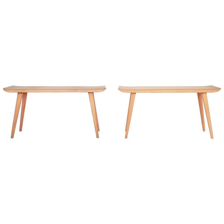 A pair of aged pine Visingsö benches by Carl Malmsten.