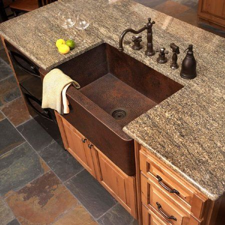 lovee these big farm house sinks...love the counter top too!, my Island with counter top extended out just a little for eat in kitchen.