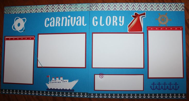 Carnival cruise scrapbook layout double page photo ready titled Carnival Glory by creationsbycindyg on Etsy