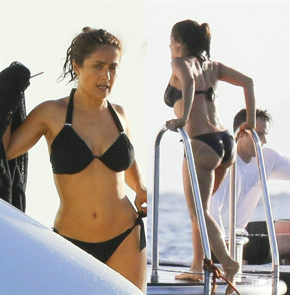 Wow. Just, wow. Salma Hayek -- who is 48 -- revealed her stunning hourglass bikini body during a yacht excursion with family and friends in St. Barts on Dec. 26. The actress rocked a black swimsuit as she enjoyed jet skiing and playing on a giant water slide with her French billionaire husband Francois-Henri Pinault and their daughter Valentina, 7, during the holiday getaway.