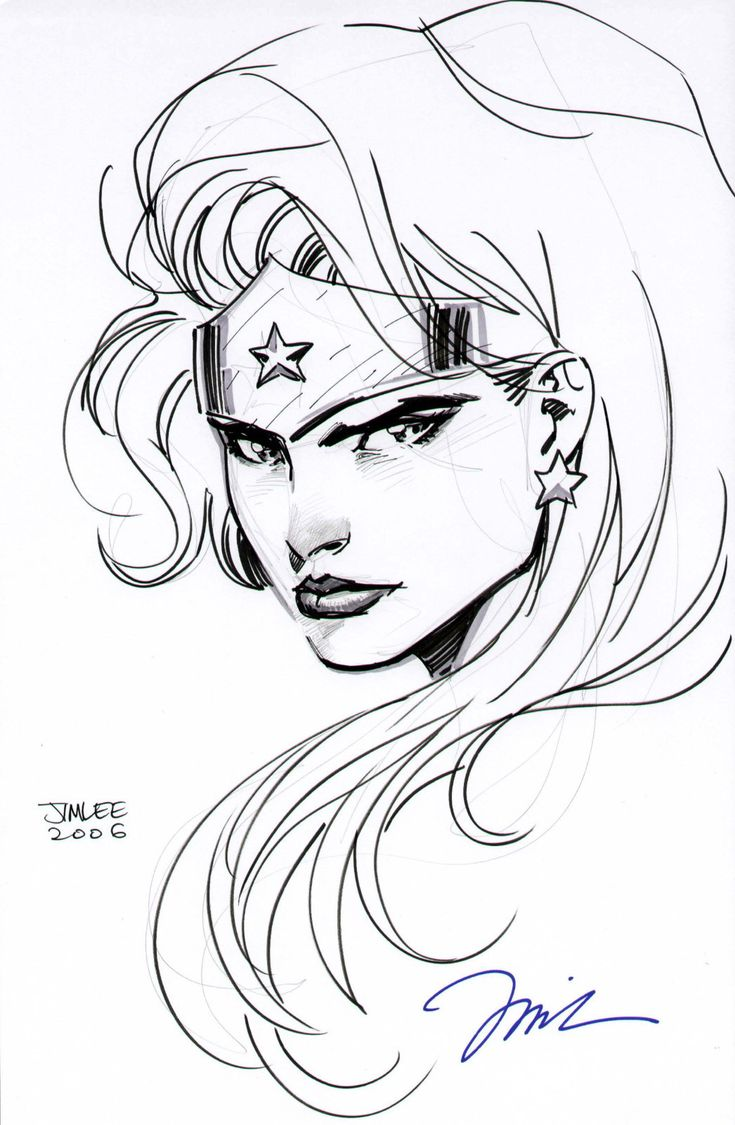 Details About Jim Lee Wonder Woman Head Drawing Justice -9962