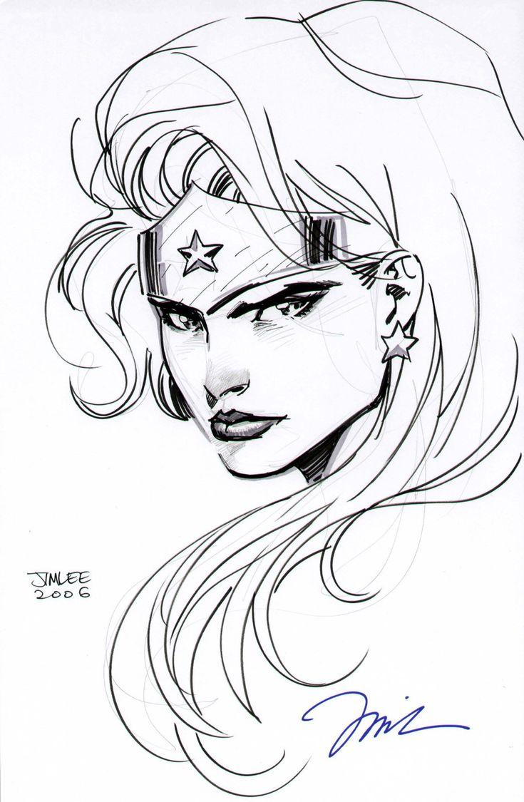 Jim Lee Wonder Woman Head Drawing Justice League DC Comics ...