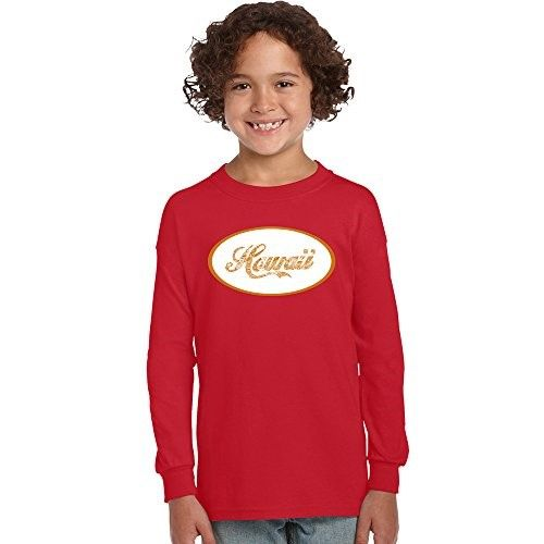 Los Angeles Pop Art Girl's Long Sleeve Graphic T-shirts - Hawaiian Island Names & Imagery, Size: Small, Red
