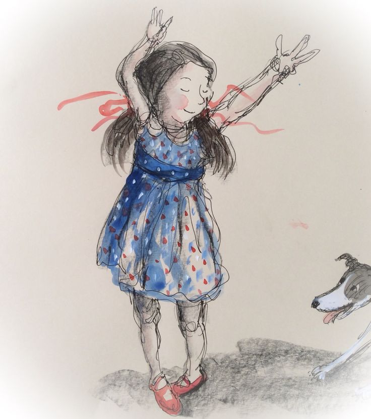 Semi-continuous line drawn sketch of dancing girl in ink, watercolour and gouache. Drawn at Federation Square Book Market #booksillustrated #dancing #child #illustration judywatson.net