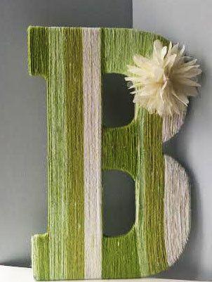 """13"""" Green Ombre Yarn Covered Letter – IttieBittieBaby"""