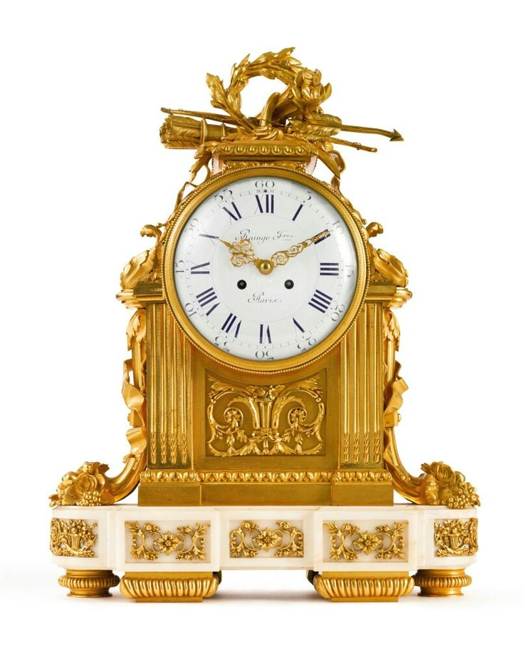 Raingo Frères French, FL. 1830 A large Louis XVI style gilt bronze and white marble mantel clock Paris, second half 19th century, after the design by Robert Osmond.