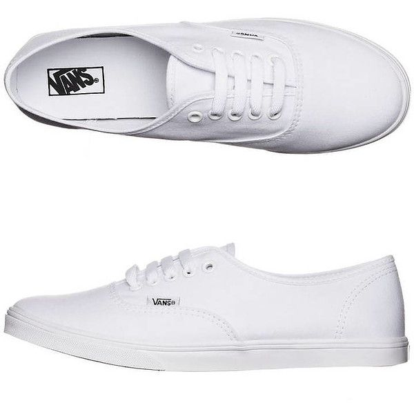Vans Womens Authentic Lo Pro Shoe White found on Polyvore featuring shoes, sneakers, white, footwear, women, vans footwear, vans shoes, waffle trainer, white shoes and white trainers