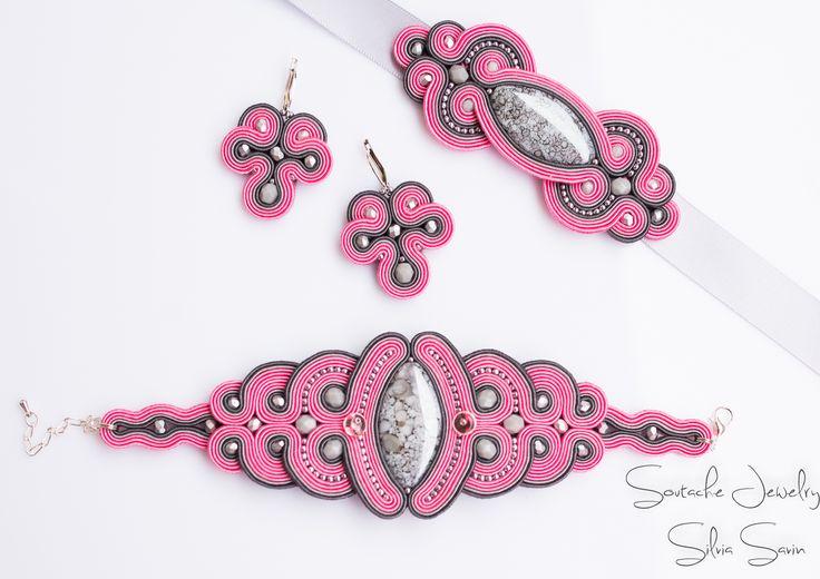 Unique handmade soutache set - Pink and Grey bracelet , earrings and headband