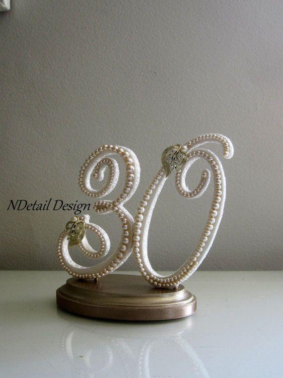 wedding cake topper 30th anniversary or birthday by ndetaildesign