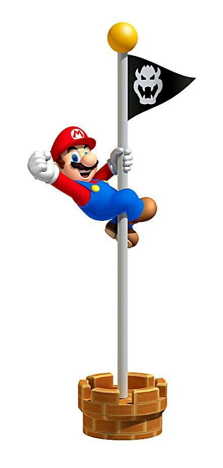 Mario on Flag Pole - Characters  Art - Super Mario 3D Land.jpg  Work that pole for coins!