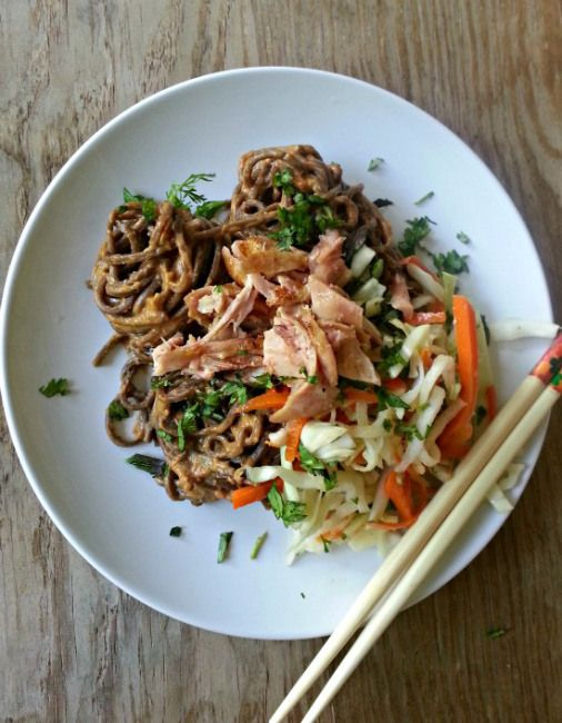 Chicken and Peanut Noodles - A cold salad featuring soba noodles in ...