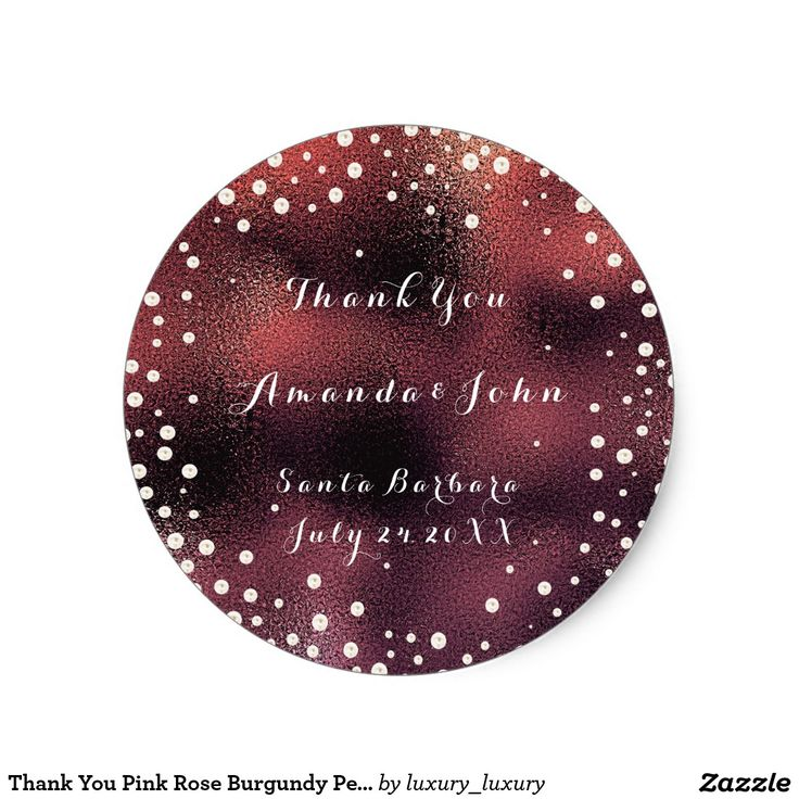 Thank You Pink Rose Burgundy Pearls Save The Date Round Sticker