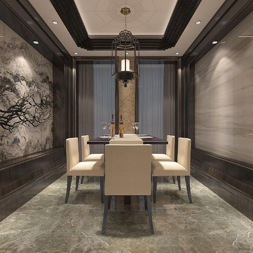 This Opulent Dining Room In A Luxury Apartment Features Porcel Thin Mystic Grey Onyx Stone Effect Floor Tiles