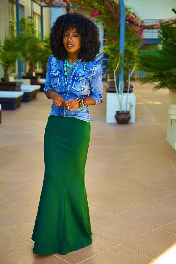 Stone Wash Denim Shirt + Green Maxi Skirt + Bracelets