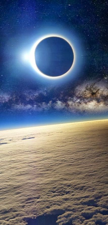 Solar eclipse as seen from Earth's orbit www.GalacticWays.com :::: pinterest.com christiancross ::::
