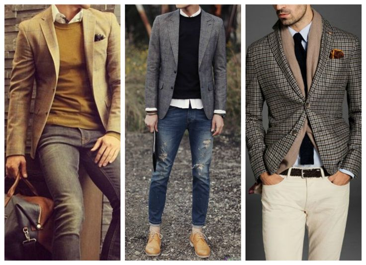 Fall, winter outfits for men - blazer. Grey blazer, checked blazer and camel blazer.