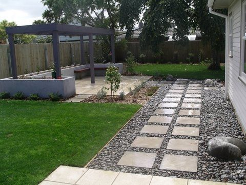 River Stones And Pavers Change Steps To The Left Of The House Then Pavers Beside House Towards