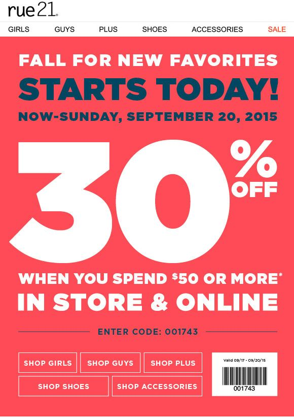 Pinned September 20th: 30% off $50 at rue21 or online via promo code 001743 #coupon via The #Coupons App