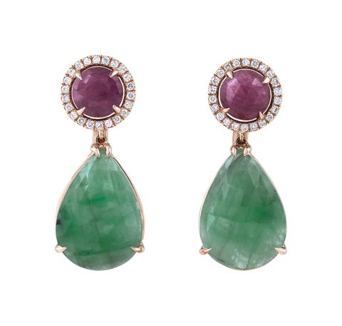 Beautiful earrings with emeralds, pink sapphires and diamonds set on pink gold. Designed and handmade in Greece by Giouzenis Jewellery.