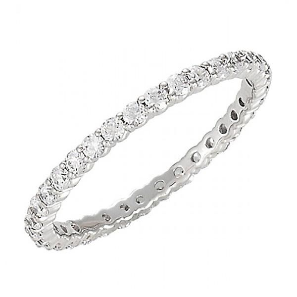 Stackable Diamond Eternity Bands - 14K White Gold Wedding Band Ring for Hers Anniversary - http://www.mybridalring.com/Rings/diamond-eternity-white-gold-wedding-band/