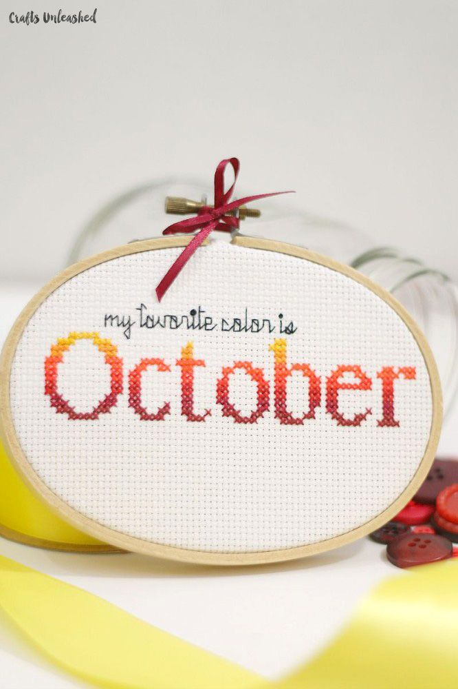 Celebrate the very best of fall with this very simple fall cross stitch pattern: My favorite color is October. Get the free cross stitch pattern now!
